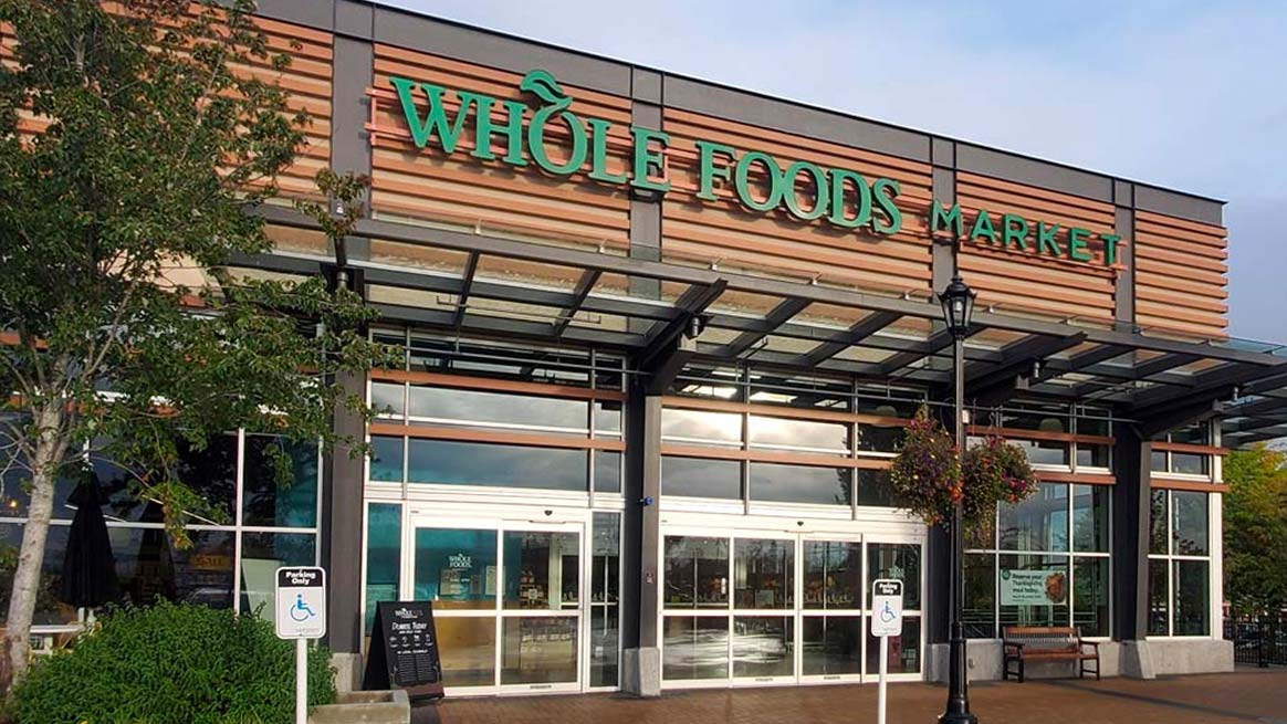 Commercial window cleaning whole food storefront sparkling clean
